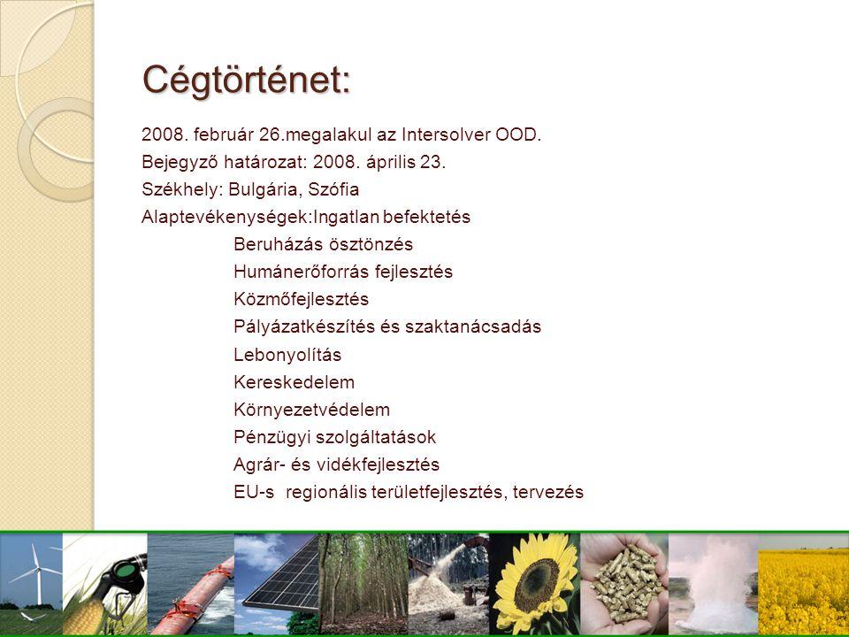 Cégtörténet: 2008. február 26.megalakul az Intersolver OOD. Bejegyző határozat: 2008. április 23. Székhely: Bulgária, Szófia Alaptevékenységek:Ingatla