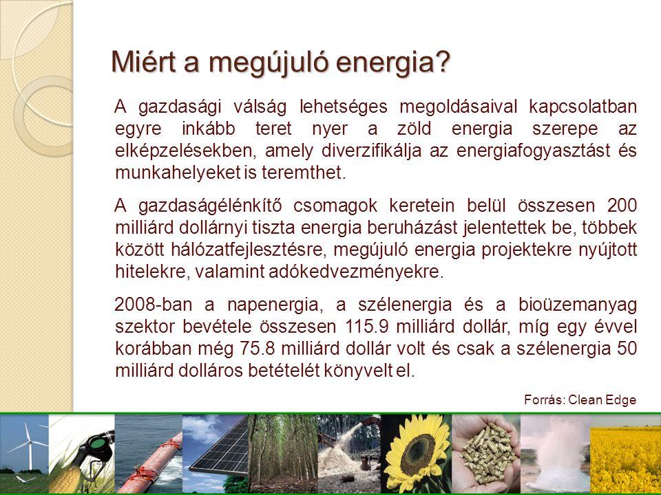 Miért a megújuló energia? A gazdasági válság lehetséges megoldásaival kapcsolatban egyre inkább teret nyer a zöld energia szerepe az elképzelésekben,