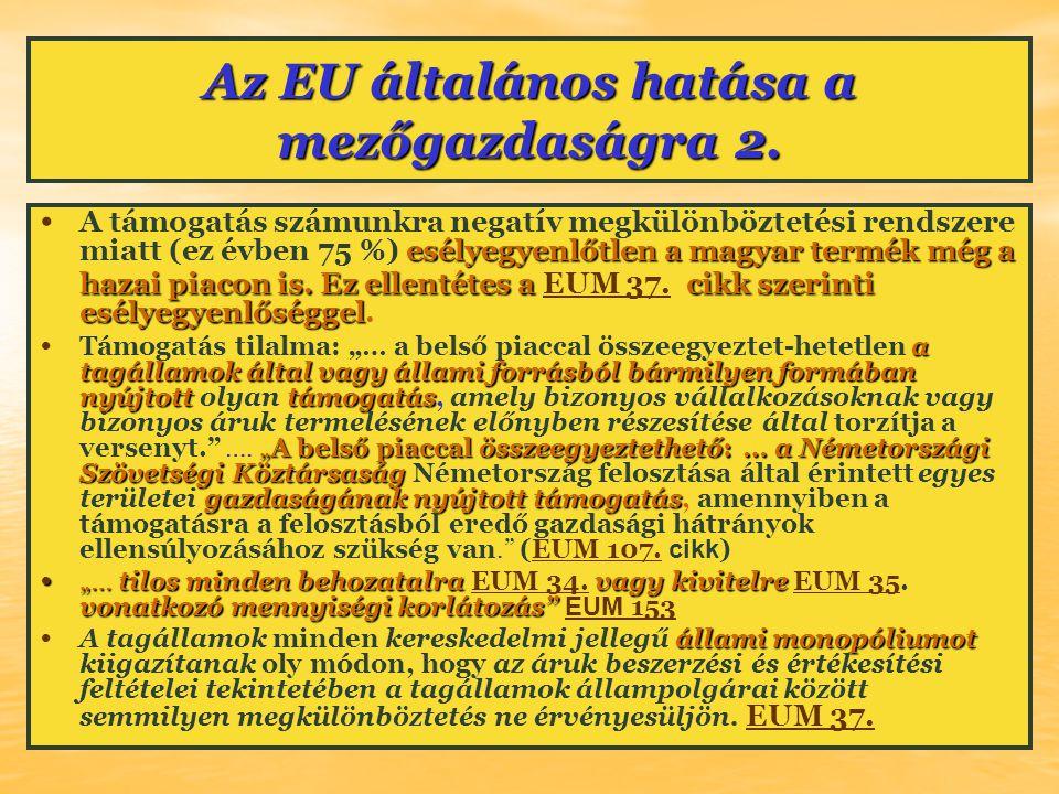 Az EU általános hatása a mezőgazdaságra 2. esélyegyenlőtlen a magyar termék még a hazai piacon is. Ez ellentétes a cikk szerinti esélyegyenlőséggel A
