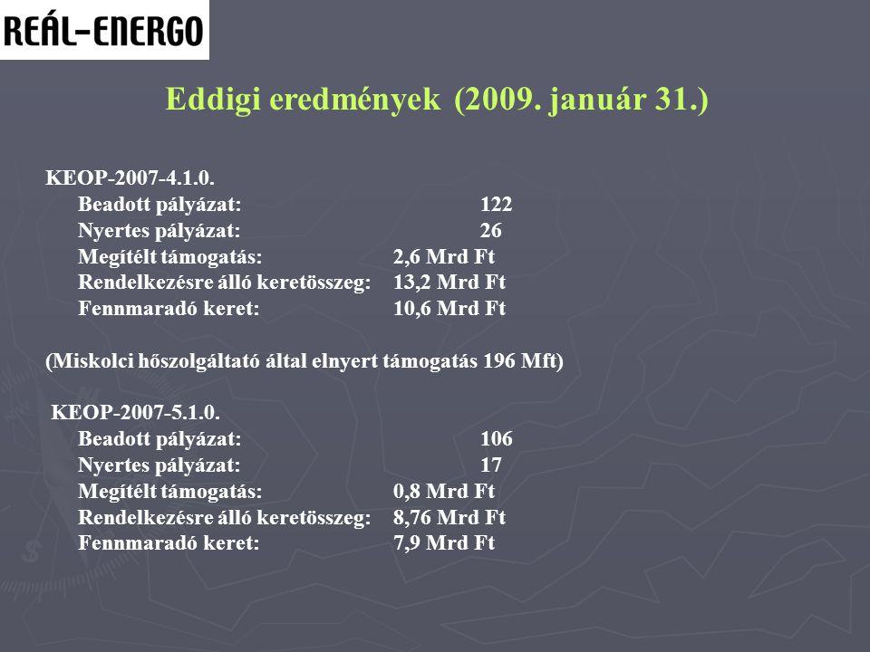 Eddigi eredmények (2009. január 31.) KEOP-2007-4.1.0. Beadott pályázat:122 Nyertes pályázat:26 Megítélt támogatás:2,6 Mrd Ft Rendelkezésre álló keretö