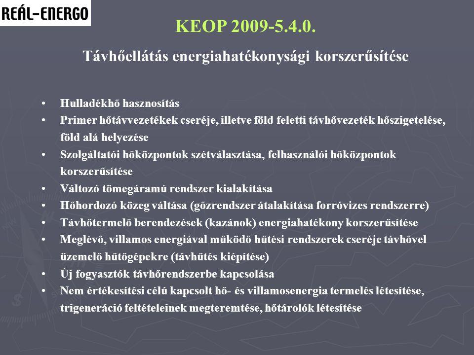 KEOP 2009-5.4.0. Távhőellátás energiahatékonysági korszerűsítése Hulladékhő hasznosítás Primer hőtávvezetékek cseréje, illetve föld feletti távhővezet