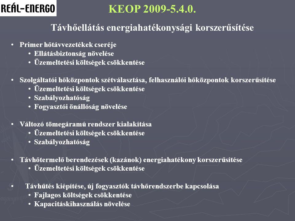 KEOP 2009-5.4.0. Távhőellátás energiahatékonysági korszerűsítése Primer hőtávvezetékek cseréje Ellátásbiztonság növelése Üzemeltetési költségek csökke