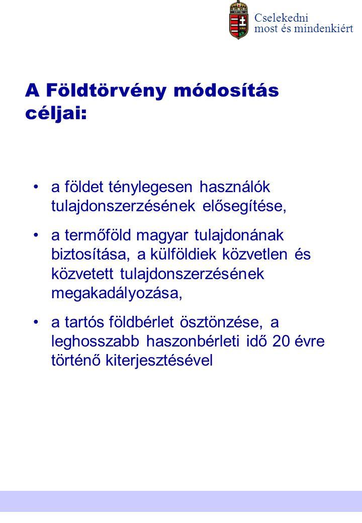 a földet ténylegesen használók tulajdonszerzésének elősegítése, a termőföld magyar tulajdonának biztosítása, a külföldiek közvetlen és közvetett tulaj