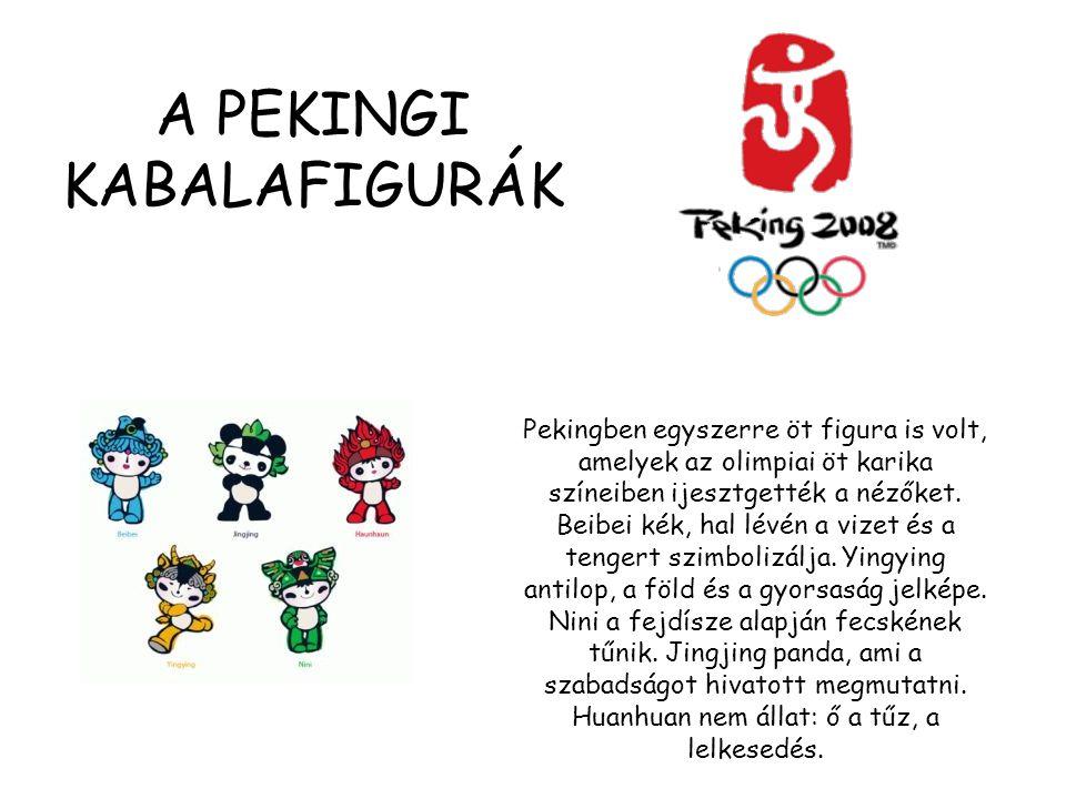 Pekingben egyszerre öt figura is volt, amelyek az olimpiai öt karika színeiben ijesztgették a nézőket. Beibei kék, hal lévén a vizet és a tengert szim