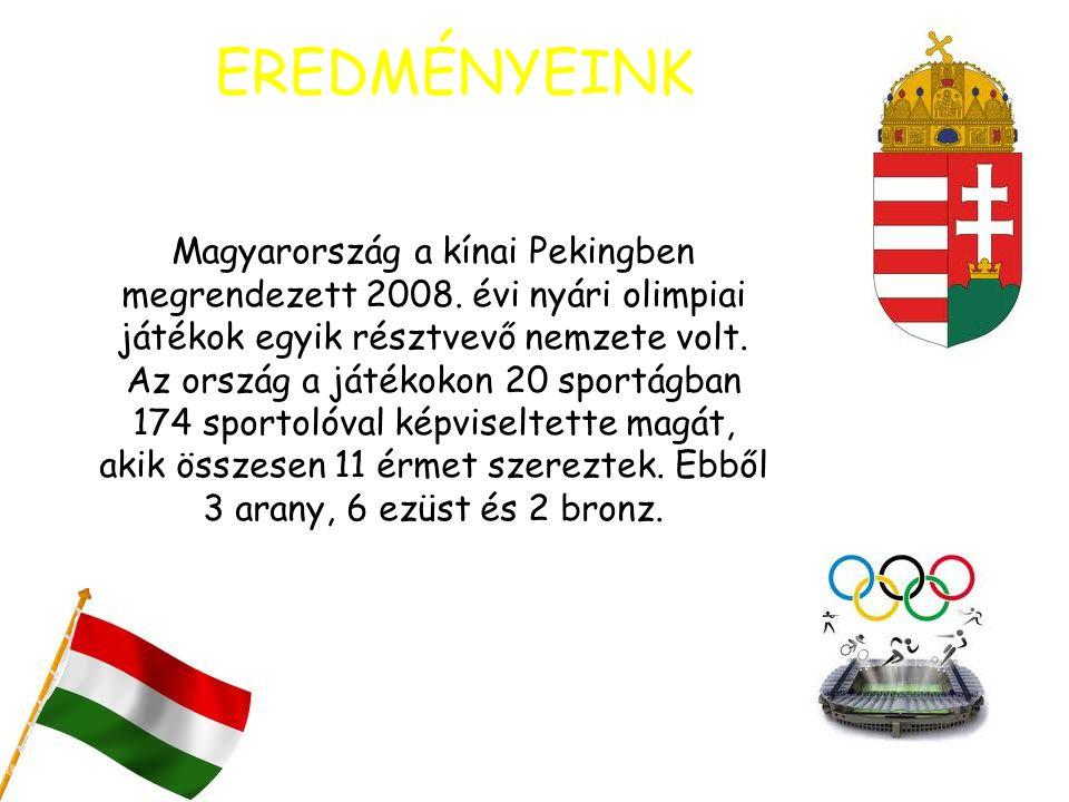EREDMÉNYEINK Magyarország a kínai Pekingben megrendezett 2008. évi nyári olimpiai játékok egyik résztvevő nemzete volt. Az ország a játékokon 20 sport