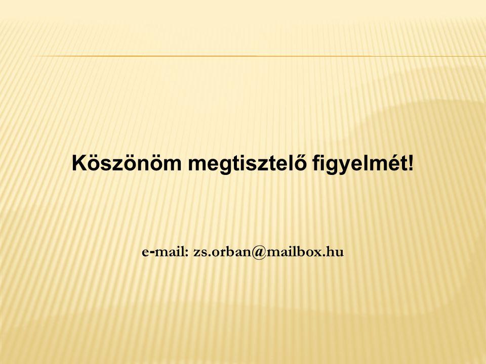 Köszönöm megtisztelő figyelmét! e - mail: zs.orban@mailbox.hu