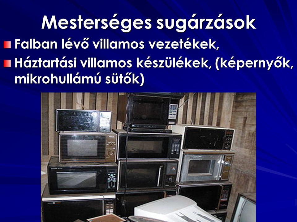 Mesterséges sugárzások Falban lévő villamos vezetékek, Háztartási villamos készülékek, (képernyők, mikrohullámú sütők) Élet és Energia Kft.