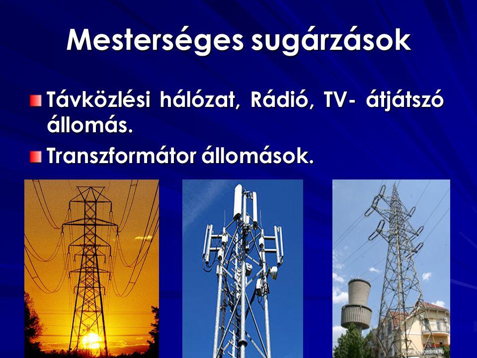 Mesterséges sugárzások Távközlési hálózat, Rádió, TV- átjátszó állomás.
