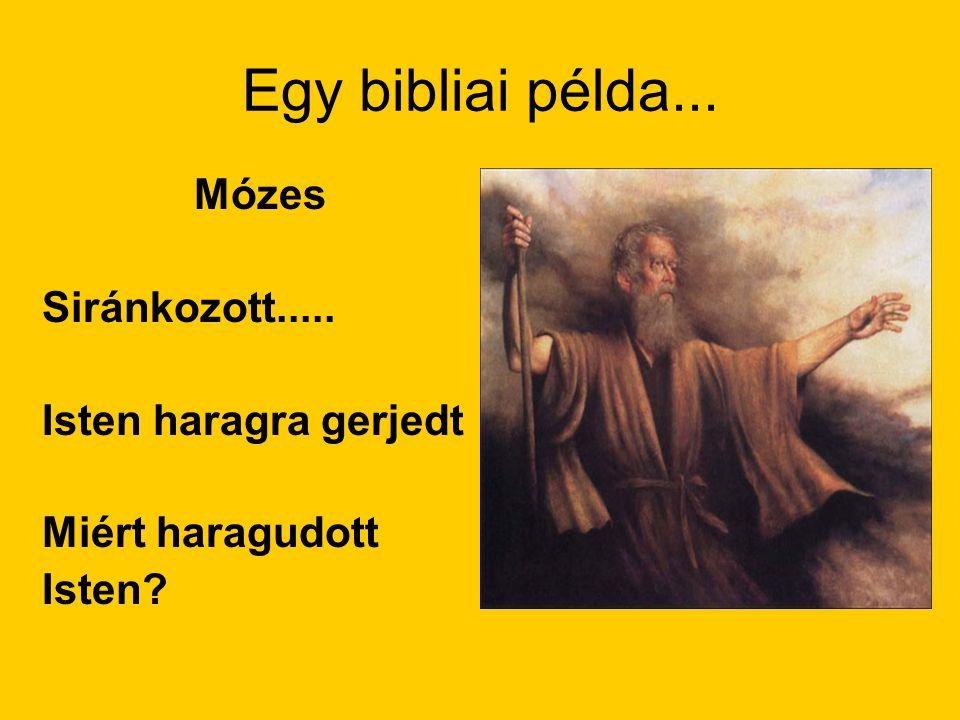 Egy bibliai példa... Mózes Siránkozott..... Isten haragra gerjedt Miért haragudott Isten?