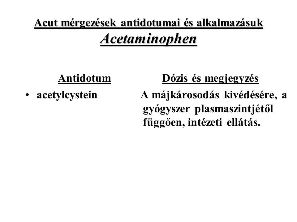Acut mérgezések antidotumai és alkalmazásuk Acetaminophen Antidotum acetylcystein Dózis és megjegyzés A májkárosodás kivédésére, a gyógyszer plasmaszintjétől függően, intézeti ellátás.