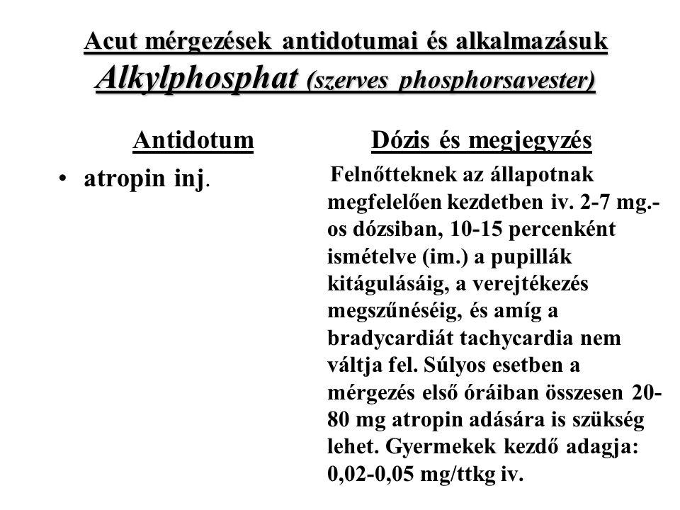 Acut mérgezések antidotumai és alkalmazásuk Alkylphosphat (szerves phosphorsavester) Antidotum atropin inj.