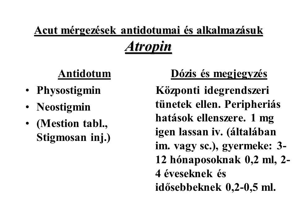 Acut mérgezések antidotumai és alkalmazásuk Atropin Antidotum Physostigmin Neostigmin (Mestion tabl., Stigmosan inj.) Dózis és megjegyzés Központi idegrendszeri tünetek ellen.