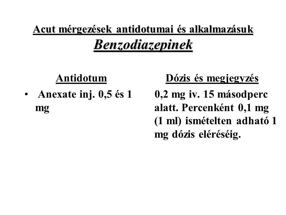Acut mérgezések antidotumai és alkalmazásuk Benzodiazepinek Antidotum Anexate inj.