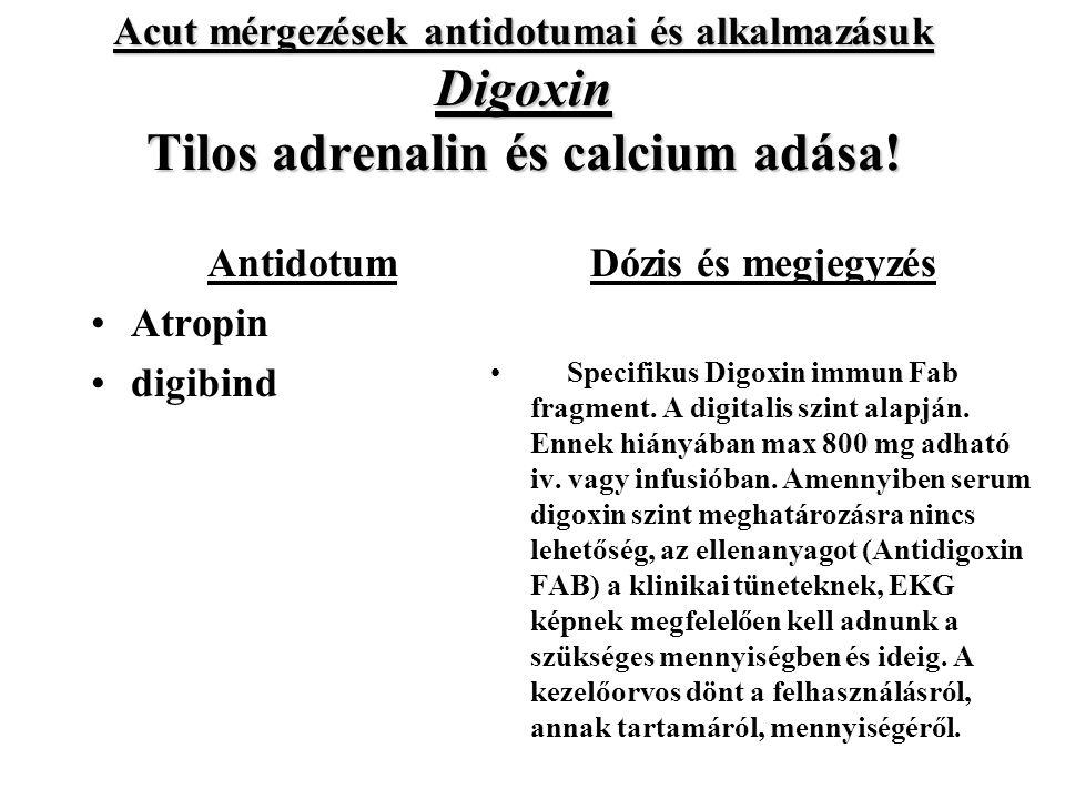 Acut mérgezések antidotumai és alkalmazásuk Digoxin Tilos adrenalin és calcium adása.