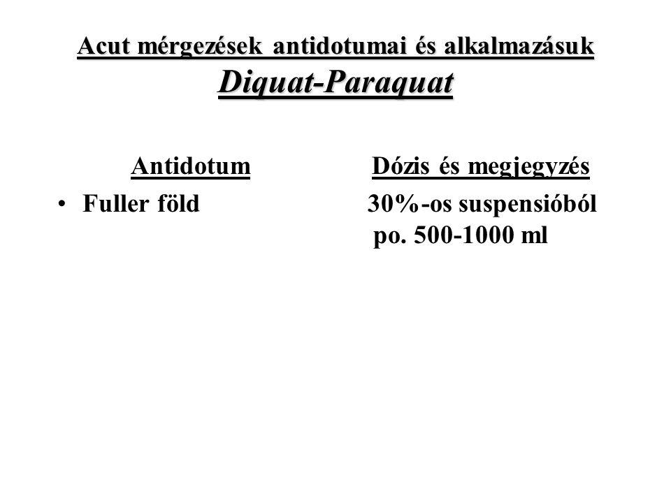 Acut mérgezések antidotumai és alkalmazásuk Diquat-Paraquat Antidotum Fuller föld Dózis és megjegyzés 30%-os suspensióból po.