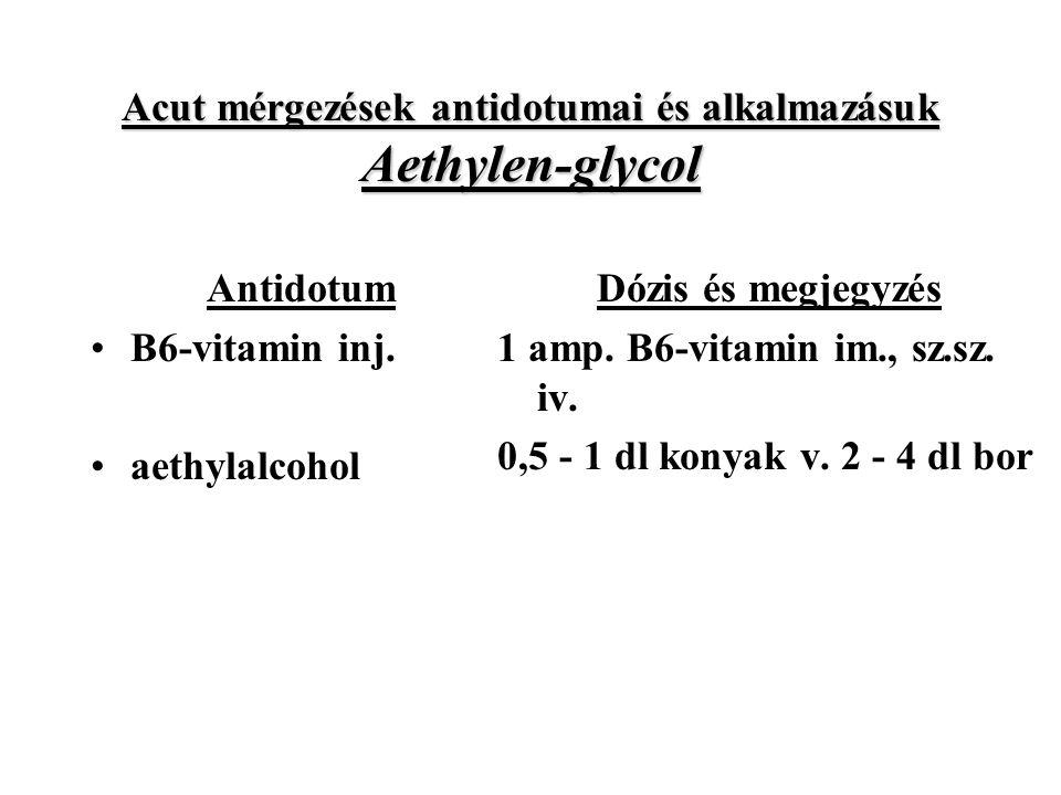Acut mérgezések antidotumai és alkalmazásuk Aethylen-glycol Antidotum B6-vitamin inj.