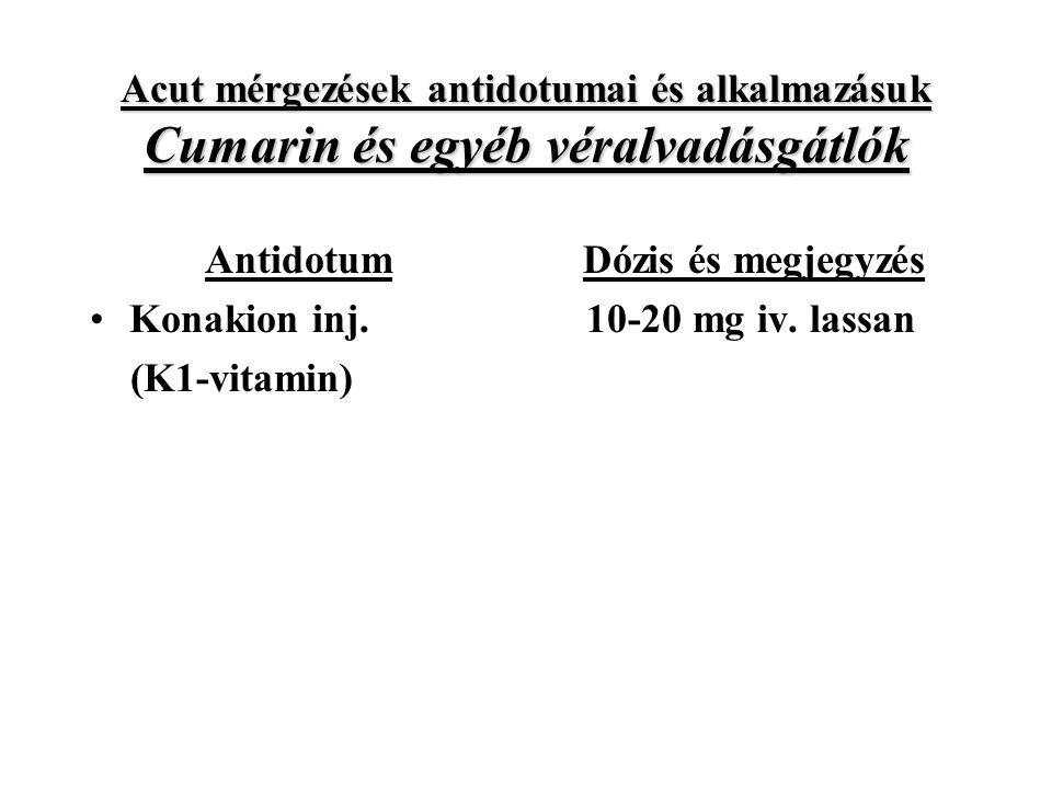 Acut mérgezések antidotumai és alkalmazásuk Cumarin és egyéb véralvadásgátlók Antidotum Konakion inj.