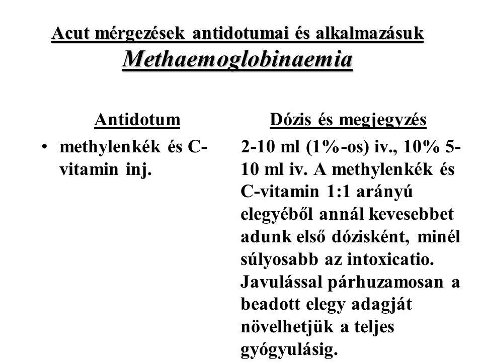 Acut mérgezések antidotumai és alkalmazásuk Methaemoglobinaemia Antidotum methylenkék és C- vitamin inj.