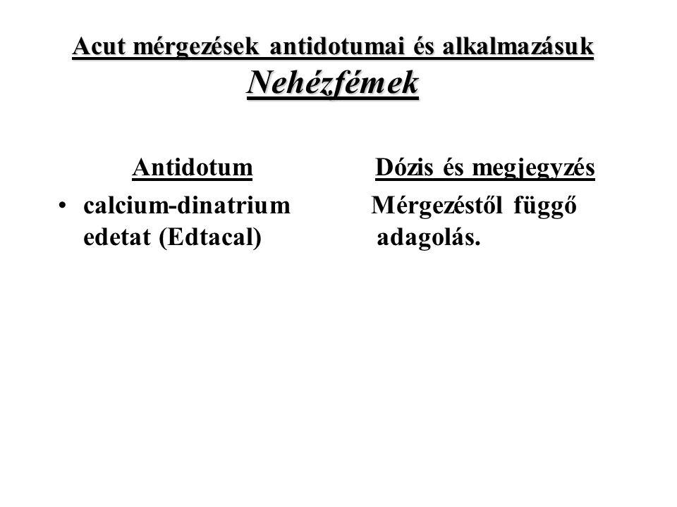 Acut mérgezések antidotumai és alkalmazásuk Nehézfémek Antidotum calcium-dinatrium edetat (Edtacal) Dózis és megjegyzés Mérgezéstől függő adagolás.