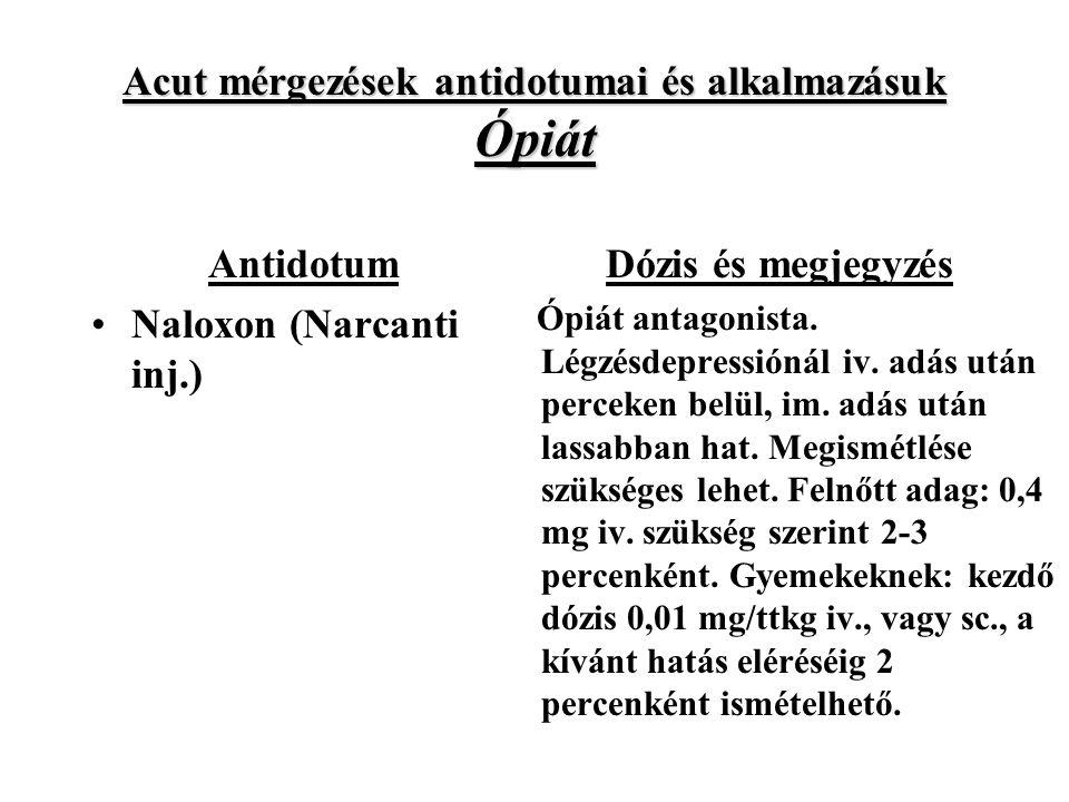 Acut mérgezések antidotumai és alkalmazásuk Ópiát Antidotum Naloxon (Narcanti inj.) Dózis és megjegyzés Ópiát antagonista.