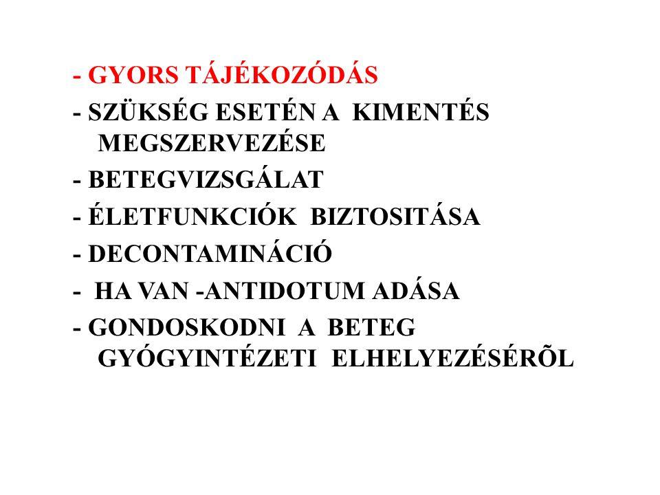 - GYORS TÁJÉKOZÓDÁS - SZÜKSÉG ESETÉN A KIMENTÉS MEGSZERVEZÉSE - BETEGVIZSGÁLAT - ÉLETFUNKCIÓK BIZTOSITÁSA - DECONTAMINÁCIÓ - HA VAN -ANTIDOTUM ADÁSA - GONDOSKODNI A BETEG GYÓGYINTÉZETI ELHELYEZÉSÉRÕL