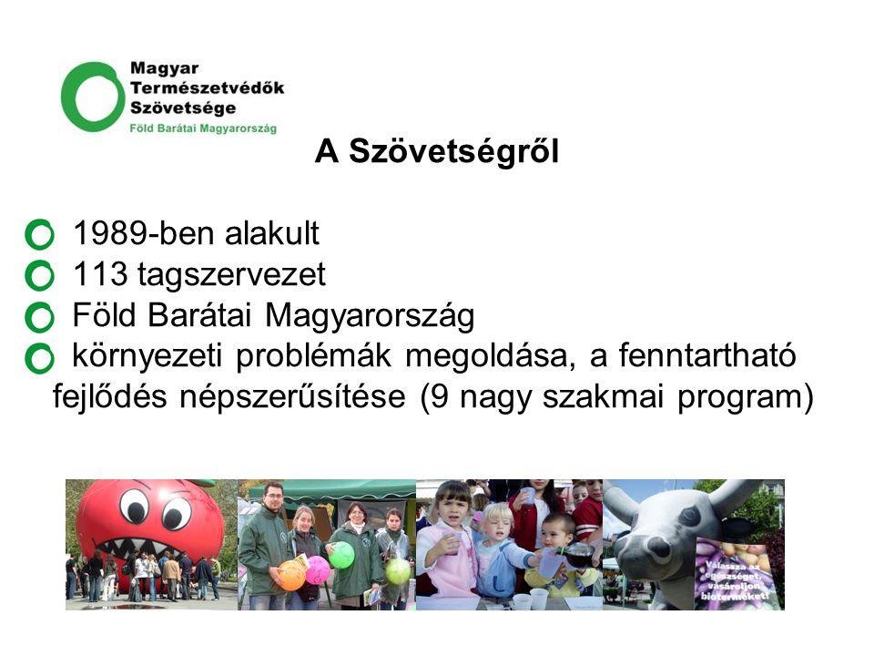 A Szövetségről 1989-ben alakult 113 tagszervezet Föld Barátai Magyarország környezeti problémák megoldása, a fenntartható fejlődés népszerűsítése (9 n