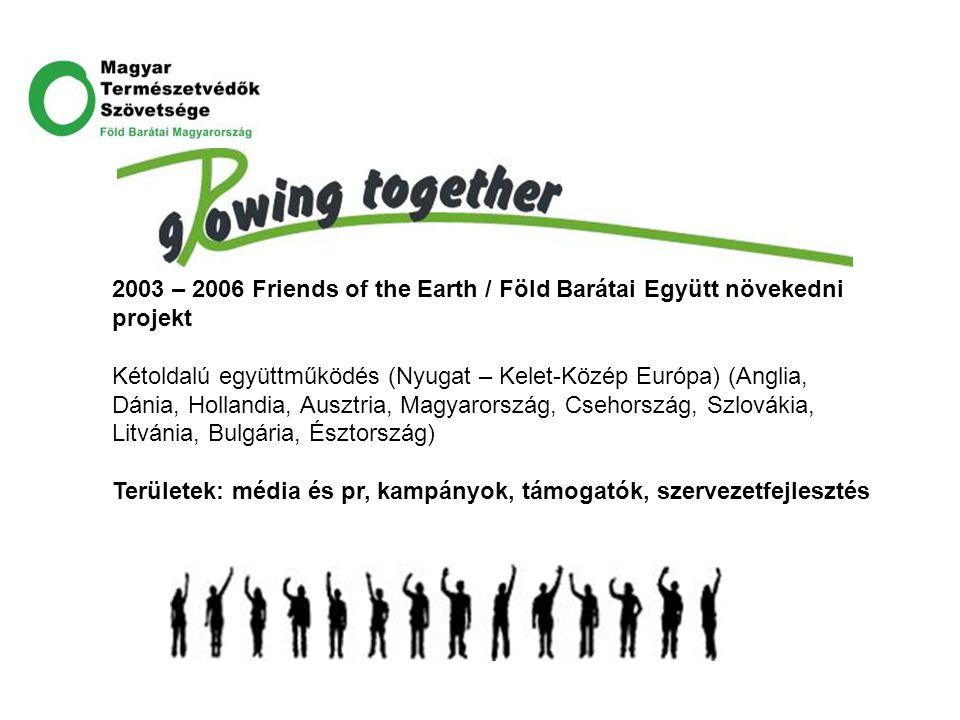 2003 – 2006 Friends of the Earth / Föld Barátai Együtt növekedni projekt Kétoldalú együttműködés (Nyugat – Kelet-Közép Európa) (Anglia, Dánia, Holland