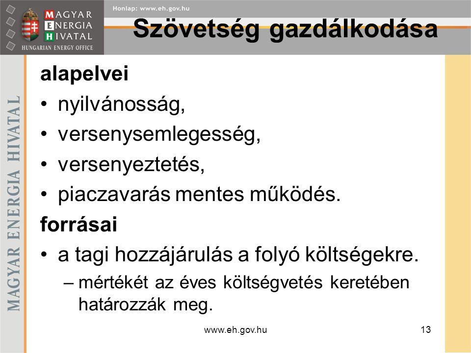 www.eh.gov.hu14 Tagság Magyar Energia Hivatal által kiadott működési engedéllyel rendelkező –földgáz közüzemi nagykereskedő, –közüzemi szolgáltató, –feljogosított fogyasztóknak földgázt értékesítő földgázkereskedő; feljogosított fogyasztóknak földgázt értékesítő földgáztermelő; határkeresztező szállítóvezeték kapacitáshoz hozzáférési engedéllyel rendelkező nyilvántartásba vett feljogosított fogyasztó.