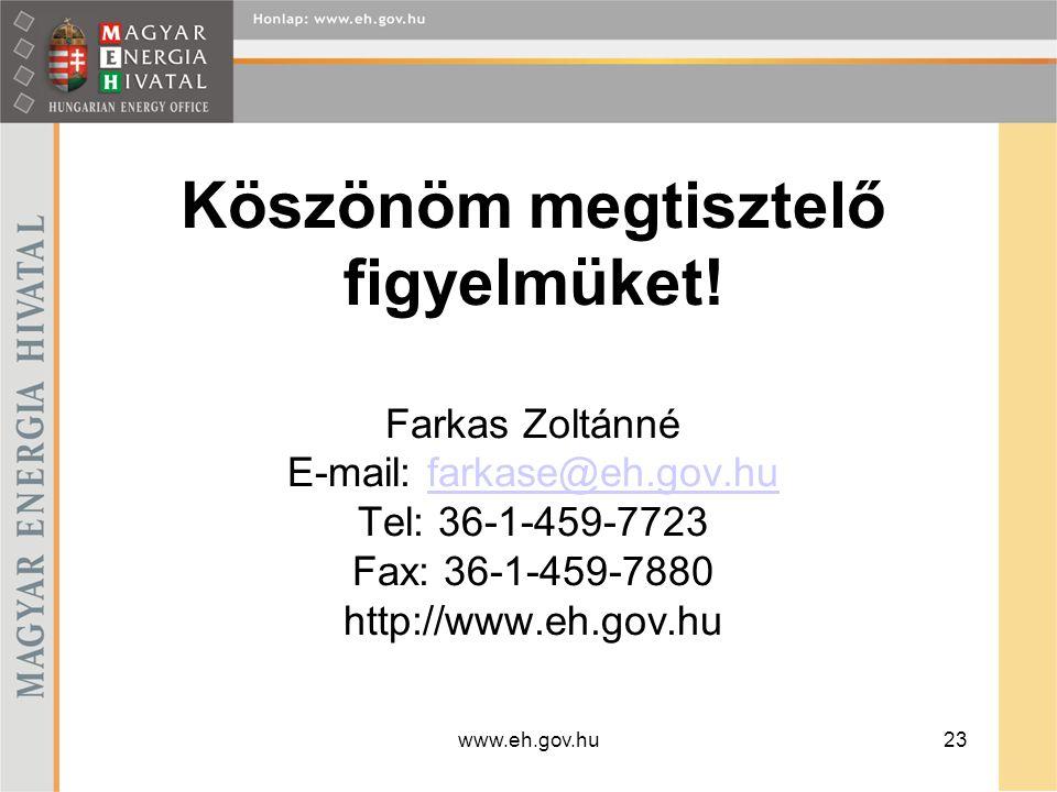 www.eh.gov.hu23 Köszönöm megtisztelő figyelmüket! Farkas Zoltánné E-mail: farkase@eh.gov.hu Tel: 36-1-459-7723 Fax: 36-1-459-7880 http://www.eh.gov.hu