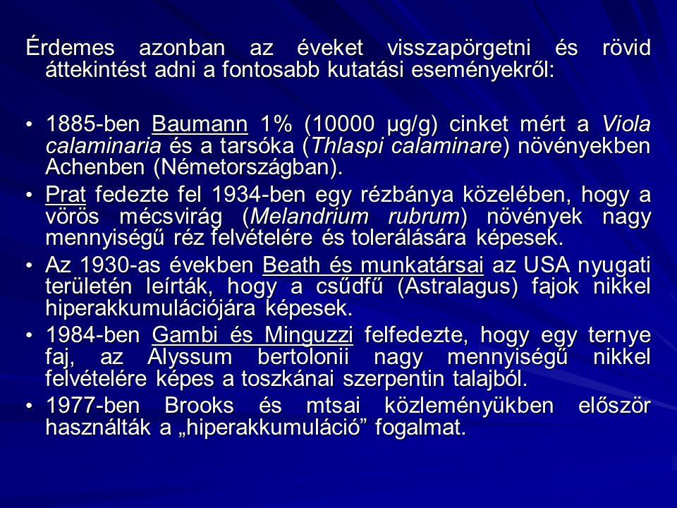 Érdemes azonban az éveket visszapörgetni és rövid áttekintést adni a fontosabb kutatási eseményekről: 1885-ben Baumann 1% (10000 µg/g) cinket mért a V