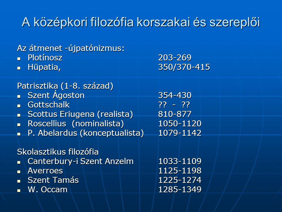 A középkori filozófia korszakai és szereplői Az átmenet -újpatónizmus: Plotínosz 203-269 Plotínosz 203-269 Hüpatia, 350/370-415 Hüpatia, 350/370-415 Patrisztika (1-8.