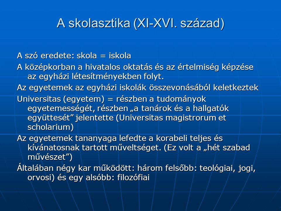 A skolasztika (XI-XVI.