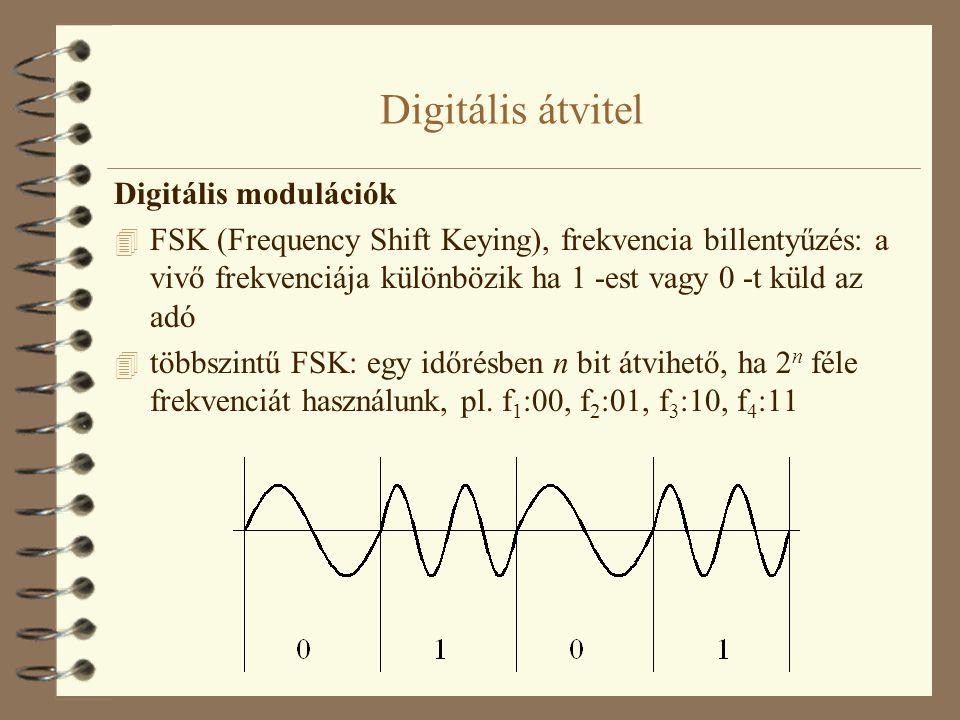 Digitális átvitel Digitális modulációk 4 FSK (Frequency Shift Keying), frekvencia billentyűzés: a vivő frekvenciája különbözik ha 1 -est vagy 0 -t kül