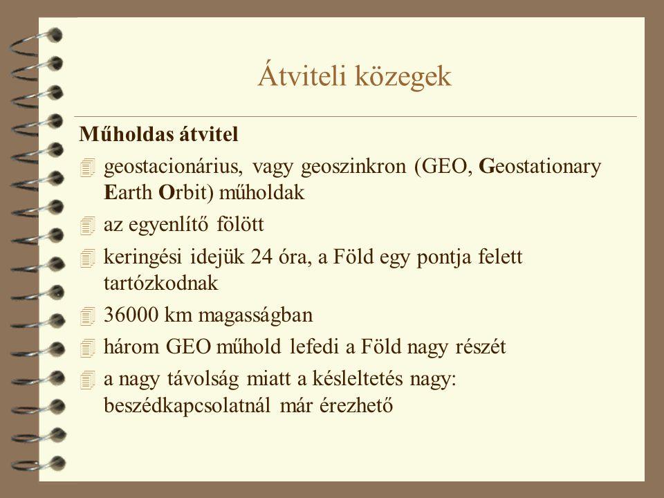 Átviteli közegek Műholdas átvitel 4 geostacionárius, vagy geoszinkron (GEO, Geostationary Earth Orbit) műholdak 4 az egyenlítő fölött 4 keringési idej