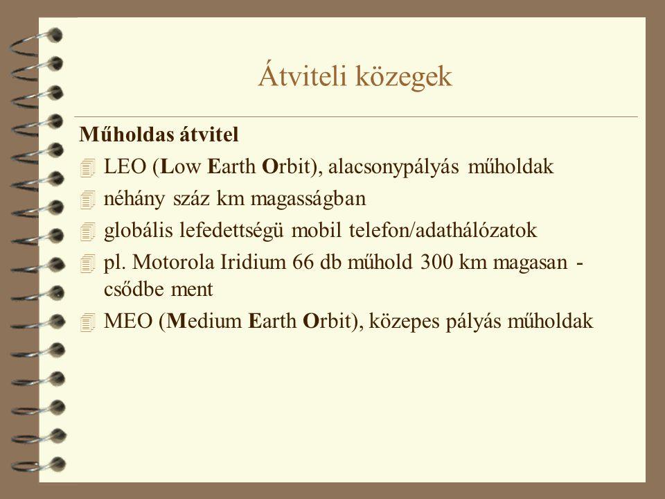 Átviteli közegek Műholdas átvitel 4 LEO (Low Earth Orbit), alacsonypályás műholdak 4 néhány száz km magasságban 4 globális lefedettségü mobil telefon/