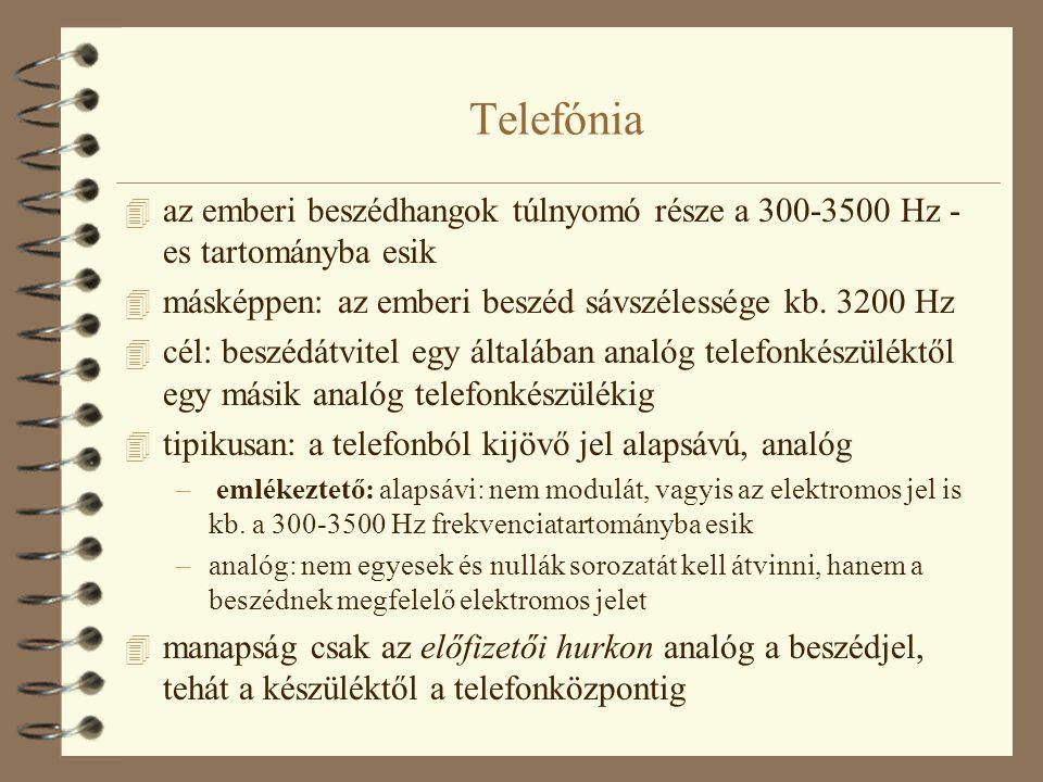 Telefónia 4 az emberi beszédhangok túlnyomó része a 300-3500 Hz - es tartományba esik 4 másképpen: az emberi beszéd sávszélessége kb. 3200 Hz 4 cél: b