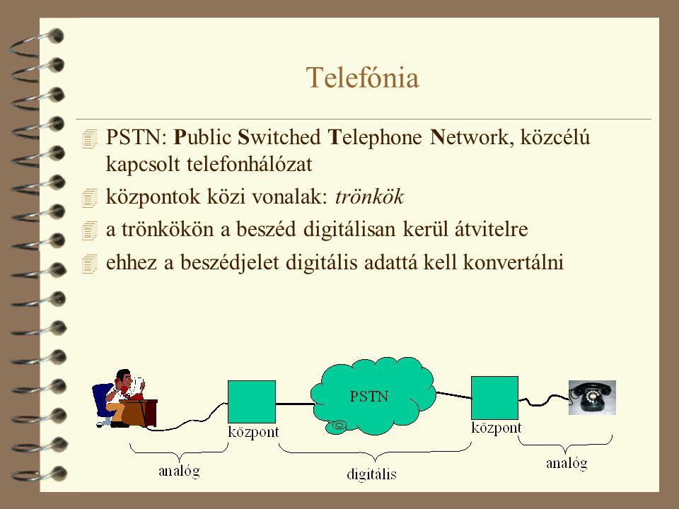 Telefónia 4 PSTN: Public Switched Telephone Network, közcélú kapcsolt telefonhálózat 4 központok közi vonalak: trönkök 4 a trönkökön a beszéd digitáli