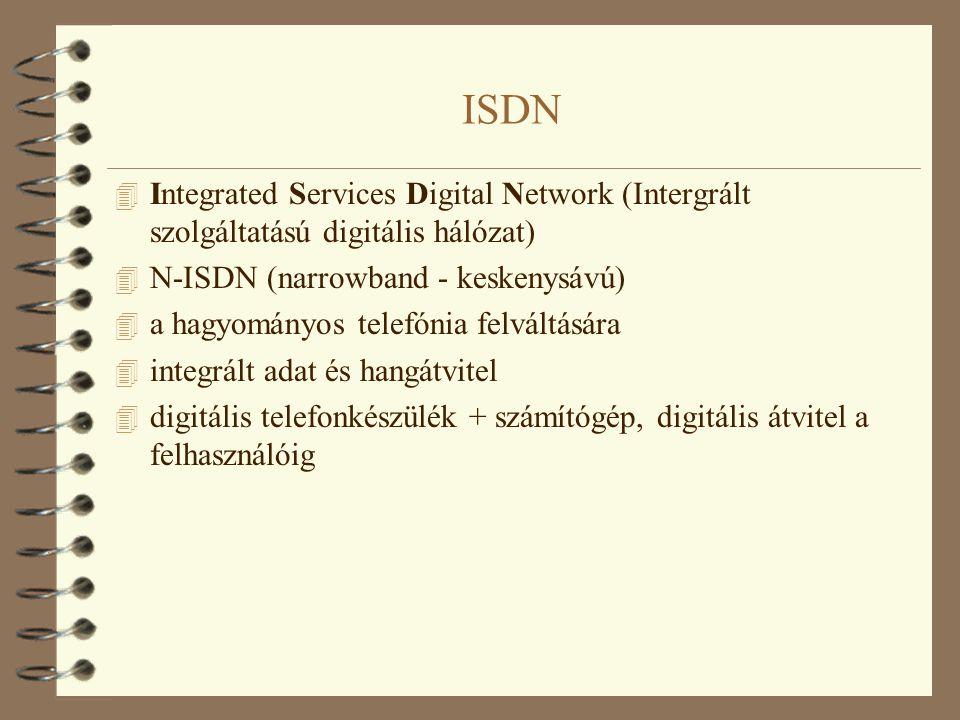 ISDN 4 Integrated Services Digital Network (Intergrált szolgáltatású digitális hálózat) 4 N-ISDN (narrowband - keskenysávú) 4 a hagyományos telefónia