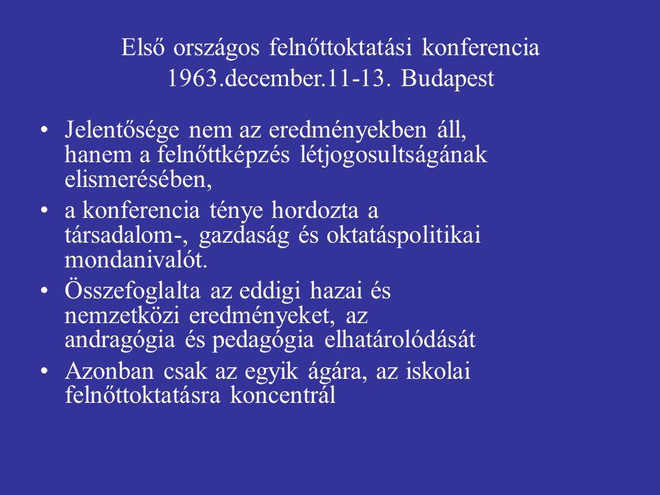 Első országos felnőttoktatási konferencia 1963.december.11-13.
