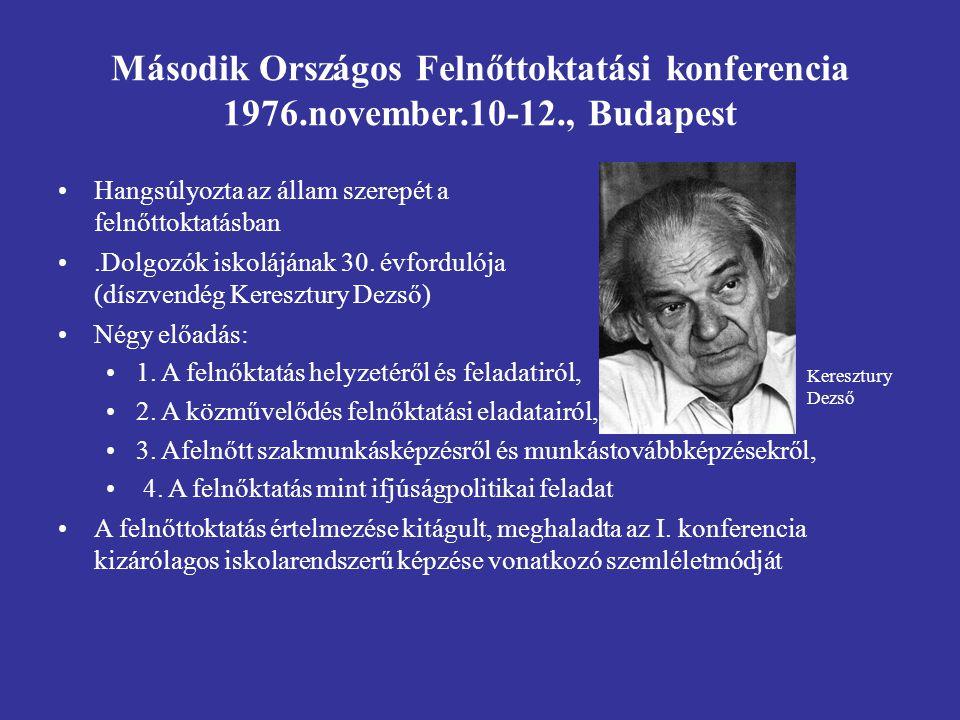 Második Országos Felnőttoktatási konferencia 1976.november.10-12., Budapest Hangsúlyozta az állam szerepét a felnőttoktatásban.Dolgozók iskolájának 30.
