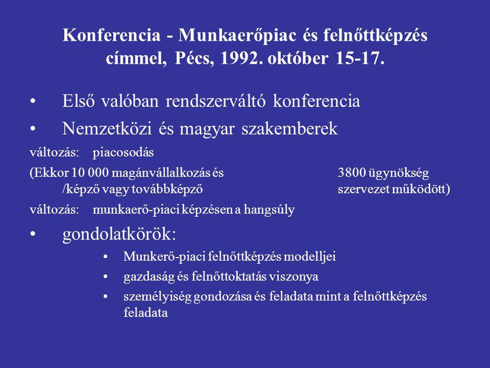 Konferencia - Munkaerőpiac és felnőttképzés címmel, Pécs, 1992.