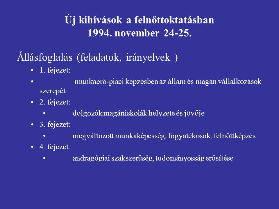 Új kihívások a felnőttoktatásban 1994.november 24-25.