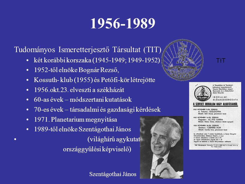 1956-1989 Tudományos Ismeretterjesztő Társultat (TIT) két korábbi korszaka (1945-1949; 1949-1952) 1952-től elnöke Bognár Rezső, Kossuth- klub (1955) és Petőfi-kör létrejötte 1956.okt.23.
