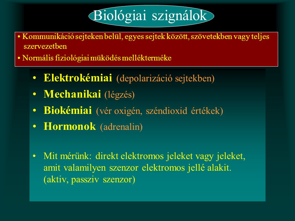 Biológiai szignálok Elektrokémiai (depolarizáció sejtekben) Mechanikai (légzés) Biokémiai (vér oxigén, széndioxid értékek) Hormonok (adrenalin) Mit mé