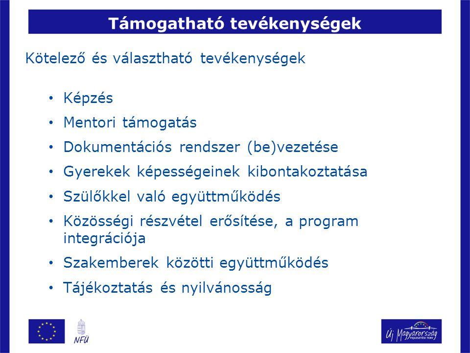 Támogatható tevékenységek Kötelező és választható tevékenységek Képzés Mentori támogatás Dokumentációs rendszer (be)vezetése Gyerekek képességeinek kibontakoztatása Szülőkkel való együttműködés Közösségi részvétel erősítése, a program integrációja Szakemberek közötti együttműködés Tájékoztatás és nyilvánosság