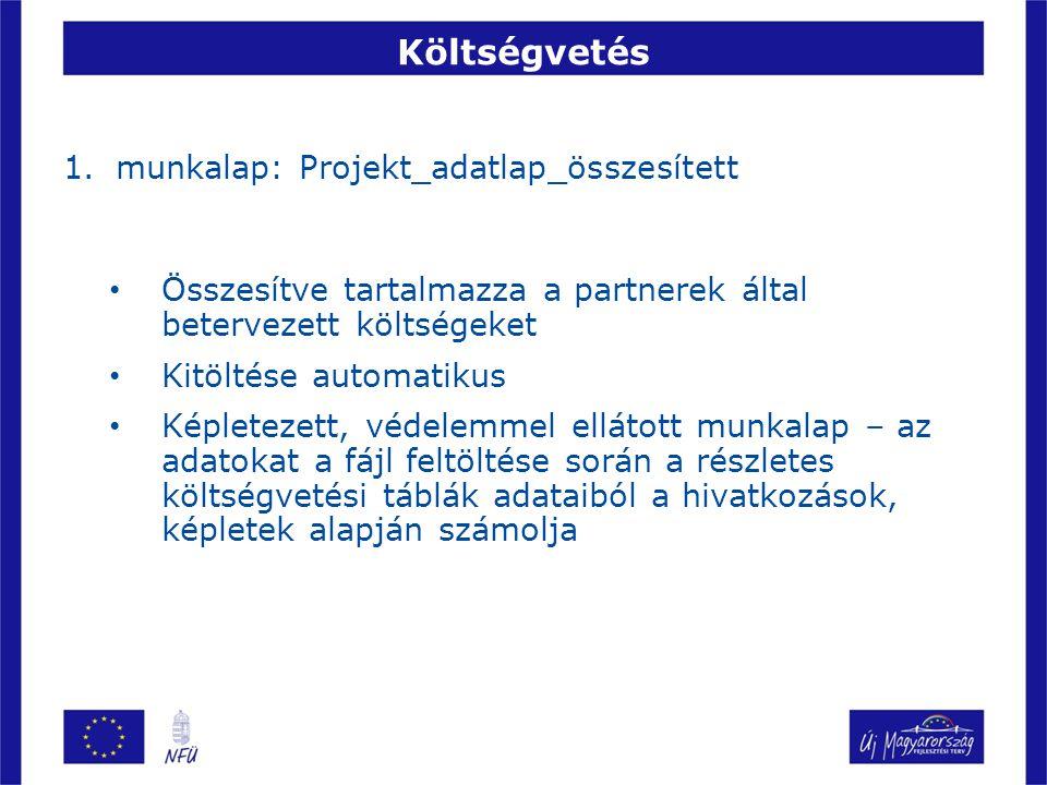 Költségvetés 1.munkalap: Projekt_adatlap_összesített Összesítve tartalmazza a partnerek által betervezett költségeket Kitöltése automatikus Képletezett, védelemmel ellátott munkalap – az adatokat a fájl feltöltése során a részletes költségvetési táblák adataiból a hivatkozások, képletek alapján számolja