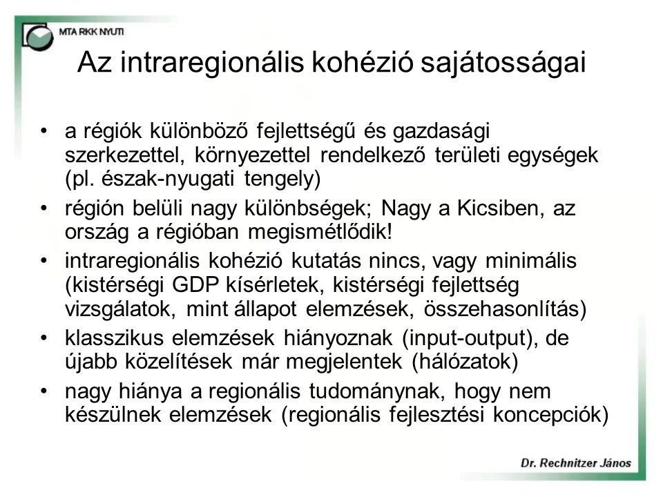 Az intraregionális kohézió sajátosságai a régiók különböző fejlettségű és gazdasági szerkezettel, környezettel rendelkező területi egységek (pl.
