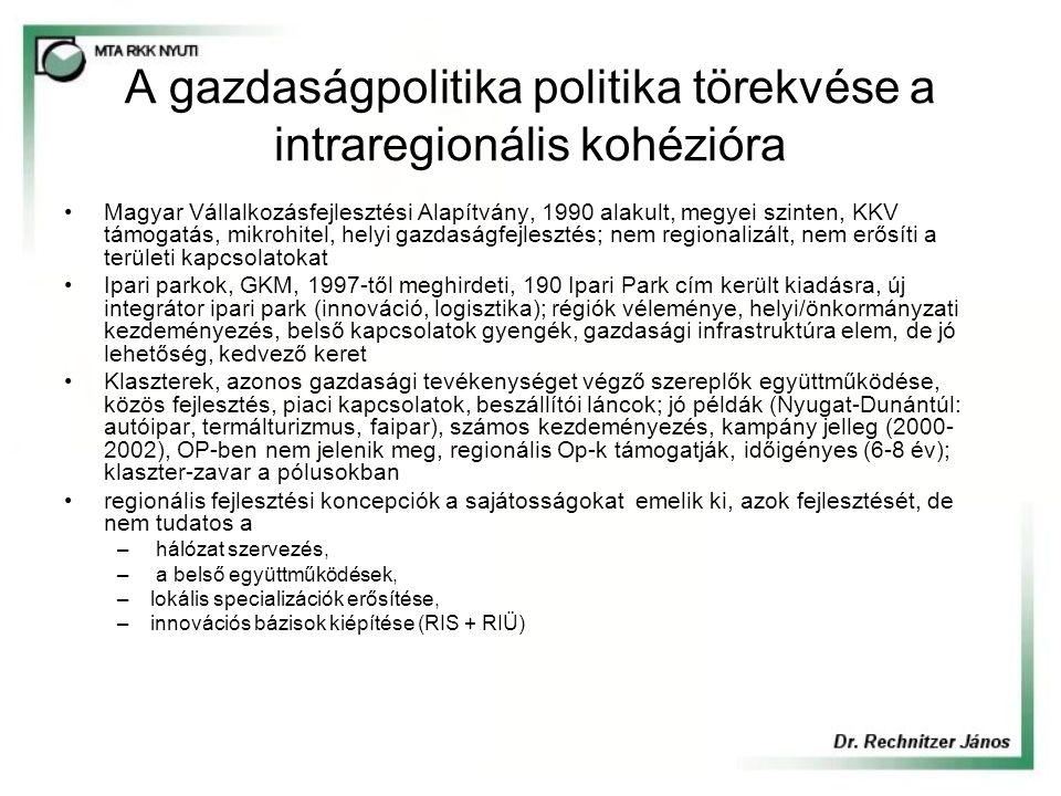 A gazdaságpolitika politika törekvése a intraregionális kohézióra Magyar Vállalkozásfejlesztési Alapítvány, 1990 alakult, megyei szinten, KKV támogatás, mikrohitel, helyi gazdaságfejlesztés; nem regionalizált, nem erősíti a területi kapcsolatokat Ipari parkok, GKM, 1997-től meghirdeti, 190 Ipari Park cím került kiadásra, új integrátor ipari park (innováció, logisztika); régiók véleménye, helyi/önkormányzati kezdeményezés, belső kapcsolatok gyengék, gazdasági infrastruktúra elem, de jó lehetőség, kedvező keret Klaszterek, azonos gazdasági tevékenységet végző szereplők együttműködése, közös fejlesztés, piaci kapcsolatok, beszállítói láncok; jó példák (Nyugat-Dunántúl: autóipar, termálturizmus, faipar), számos kezdeményezés, kampány jelleg (2000- 2002), OP-ben nem jelenik meg, regionális Op-k támogatják, időigényes (6-8 év); klaszter-zavar a pólusokban regionális fejlesztési koncepciók a sajátosságokat emelik ki, azok fejlesztését, de nem tudatos a – hálózat szervezés, – a belső együttműködések, –lokális specializációk erősítése, –innovációs bázisok kiépítése (RIS + RIÜ)