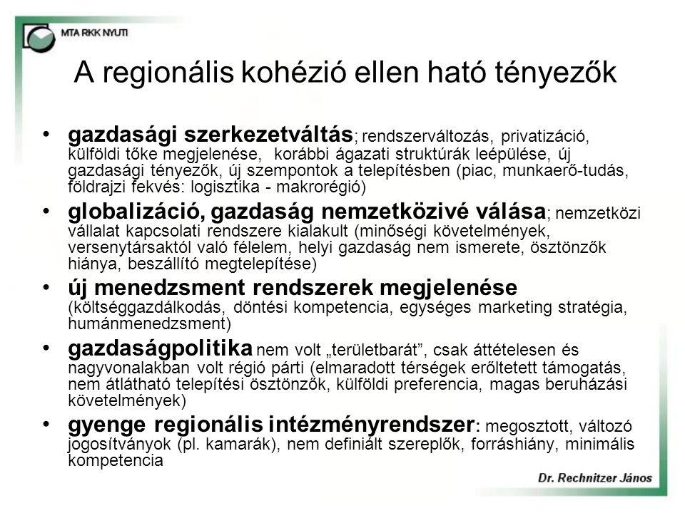 """A regionális kohézió ellen ható tényezők gazdasági szerkezetváltás ; rendszerváltozás, privatizáció, külföldi tőke megjelenése, korábbi ágazati struktúrák leépülése, új gazdasági tényezők, új szempontok a telepítésben (piac, munkaerő-tudás, földrajzi fekvés: logisztika - makrorégió) globalizáció, gazdaság nemzetközivé válása ; nemzetközi vállalat kapcsolati rendszere kialakult (minőségi követelmények, versenytársaktól való félelem, helyi gazdaság nem ismerete, ösztönzők hiánya, beszállító megtelepítése) új menedzsment rendszerek megjelenése (költséggazdálkodás, döntési kompetencia, egységes marketing stratégia, humánmenedzsment) gazdaságpolitika nem volt """"területbarát , csak áttételesen és nagyvonalakban volt régió párti (elmaradott térségek erőltetett támogatás, nem átlátható telepítési ösztönzők, külföldi preferencia, magas beruházási követelmények) gyenge regionális intézményrendszer : megosztott, változó jogosítványok (pl."""