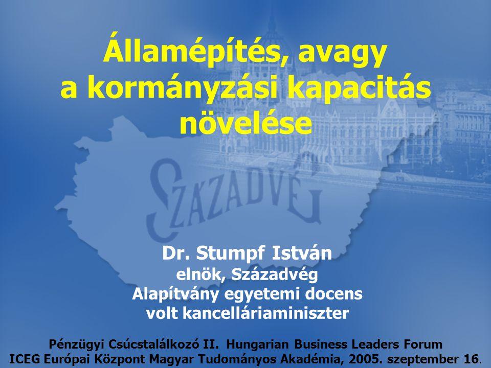 Dr. Stumpf István elnök, Századvég Alapítvány egyetemi docens volt kancelláriaminiszter Államépítés, avagy a kormányzási kapacitás növelése Pénzügyi C